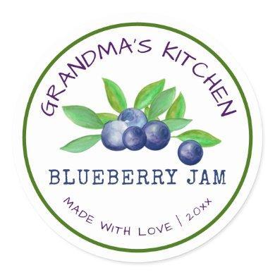 Grandma's Kitchen Made with Love Blueberry  Jam  Classic Round Sticker