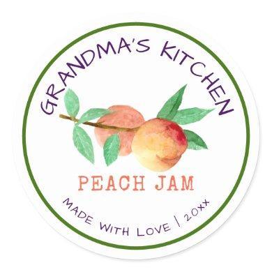 Grandma's Kitchen Made with Love Peach Jam Classic Round Sticker