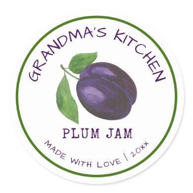 Grandma's Kitchen Made with Love Plum Jam Classic  Classic Round Sticker