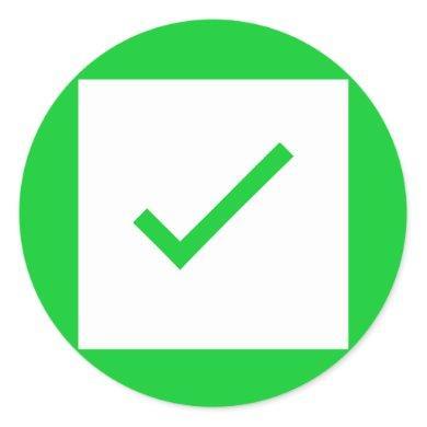 Green check mark sign tick icon stickers