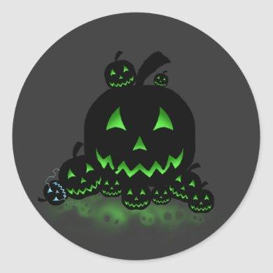 Green Glowing Black Halloween Jack O Lanterns Classic Round Sticker