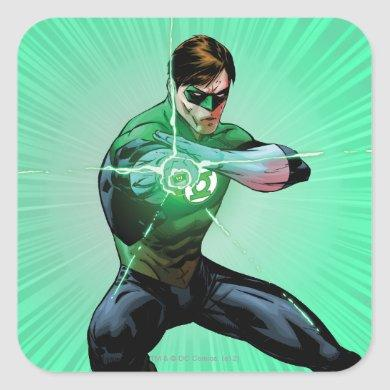 Green Lantern & Glowing Ring Square Sticker