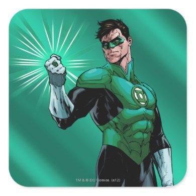Green Lantern & Ring Square Sticker