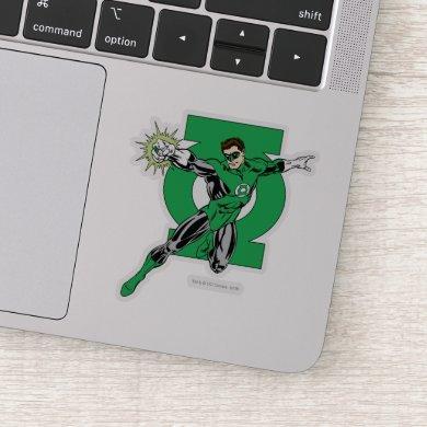 Green Lantern with Logo Background Sticker