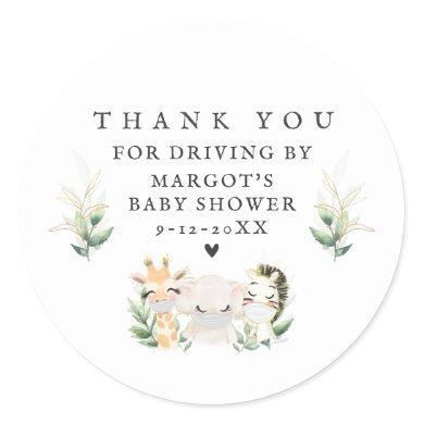 Greenery Gold Safari Animals Drive By Baby Shower Classic Round Sticker