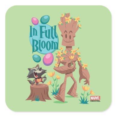 Groot & Rocket Easter | In Full Bloom Square Sticker