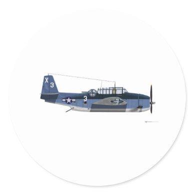 Grumman TBM Avenger Classic Round Sticker