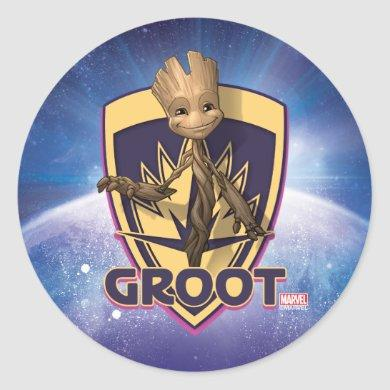 Guardians of the Galaxy | Baby Groot Crest Classic Round Sticker