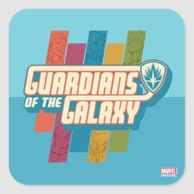 Guardians of the Galaxy | Crew Color Bar Logo Square Sticker