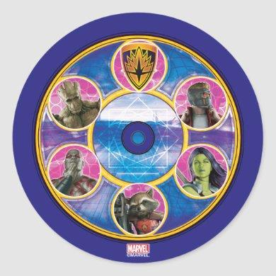 Guardians of the Galaxy | Crew In Neon Circles Classic Round Sticker