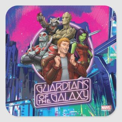 Guardians of the Galaxy | Crew Neon Sign Square Sticker