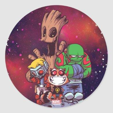 Guardians of the Galaxy | Crew On Asteroid Classic Round Sticker