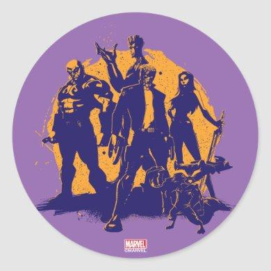 Guardians of the Galaxy | Crew Paint Silhouette Classic Round Sticker