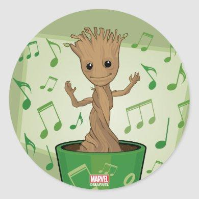 Guardians of the Galaxy | Dancing Baby Groot Classic Round Sticker