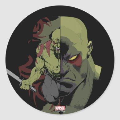 Guardians of the Galaxy | Drax Close-Up Graphic Classic Round Sticker