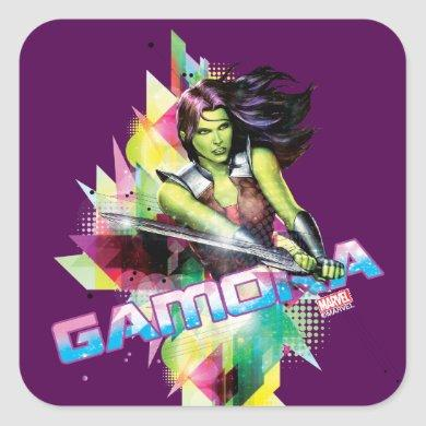 Guardians of the Galaxy | Gamora Neon Graphic Square Sticker