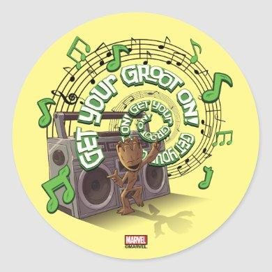 Guardians of the Galaxy | Groot Boombox Classic Round Sticker