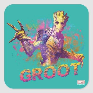 Guardians of the Galaxy | Groot Neon Graphic Square Sticker