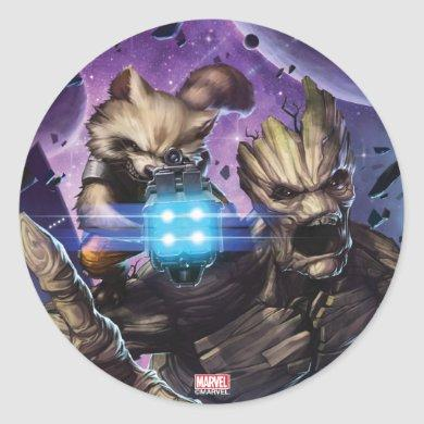 Guardians of the Galaxy | Rocket & Groot Attack Classic Round Sticker