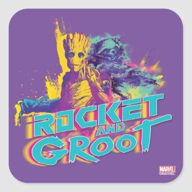 Guardians of the Galaxy | Rocket & Groot Neon Art Square Sticker