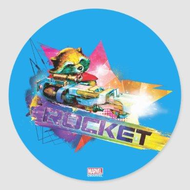 Guardians of the Galaxy | Rocket Neon Graphic Classic Round Sticker