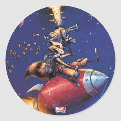 Guardians of the Galaxy | Rocket Riding Missile Classic Round Sticker