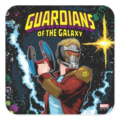 Guardians of the Galaxy   Star-Lord Retro Comic Square Sticker
