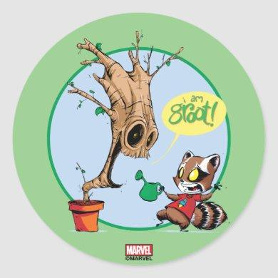 Guardians of the Galaxy | Watering Groot Classic Round Sticker
