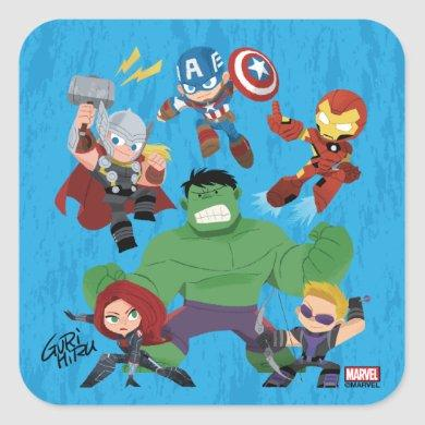 Guri Hiru Avengers Square Sticker