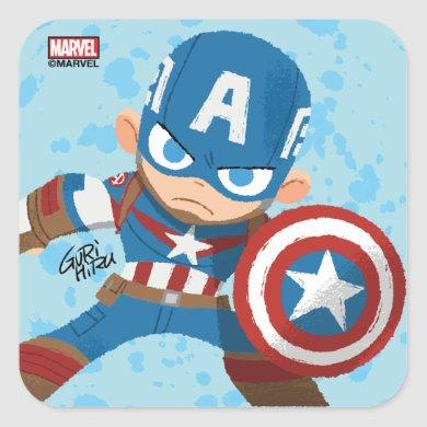 Guri Hiru Captain America Square Sticker