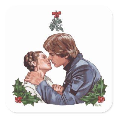 Han Kissing Leia Under The Mistletoe Square Sticker