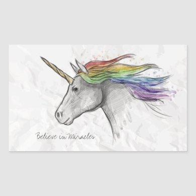 Hand Drawn Magical Unicorn. Believe in Miracles. Rectangular Sticker