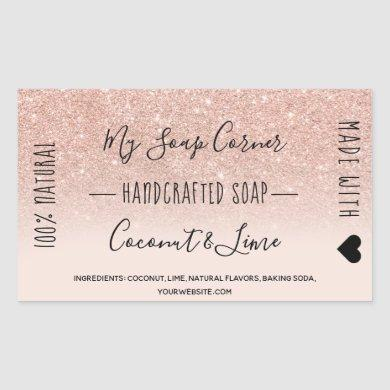 Hand made soap rose gold glitter blush pink ombre rectangular sticker