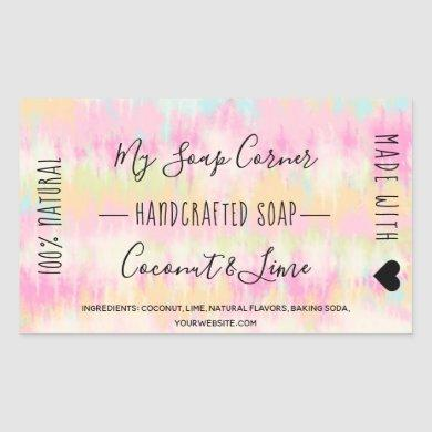Hand made soap Tie dye unicorn rainbow watercolor Rectangular Sticker
