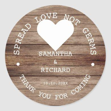 Hand Sanitizer Favors Spread Love Rustic Wedding  Classic Round Sticker