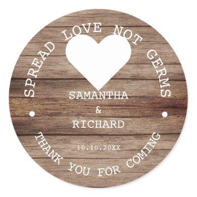 Hand Sanitizer Favors Spread Love Rustic Wedding  Classic Round Sticker