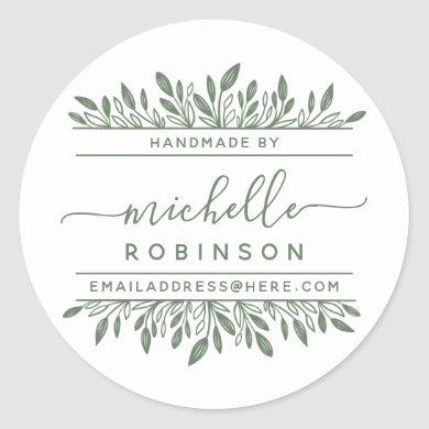 Hand-written Name Sage Green Botanical Handmade By Classic Round Sticker