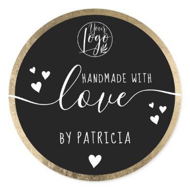 Handmade love typography logo hearts gold black classic round sticker