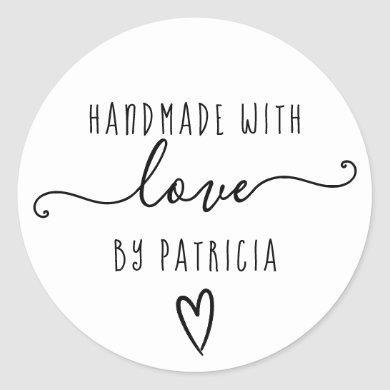 Handmade love typography minimalist  black white classic round sticker