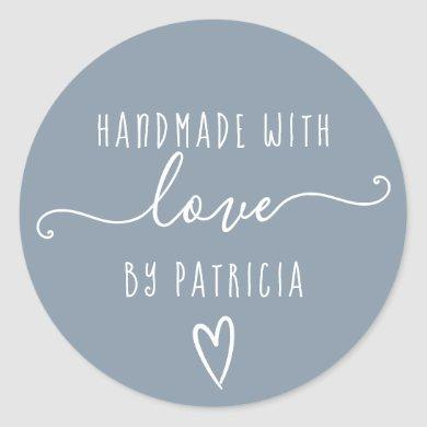 Handmade love typography minimalist  dusty blue classic round sticker