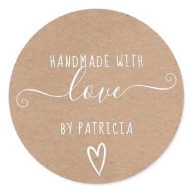 Handmade love typography minimalist rustic kraft classic round sticker