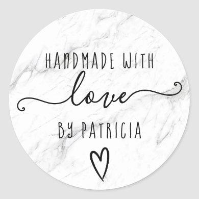 Handmade love typography minimalist white marble classic round sticker