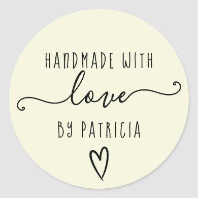 Handmade love typography minimalist  yellow classic round sticker