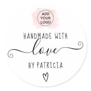 Handmade love typography pink brushstroke logo classic round sticker