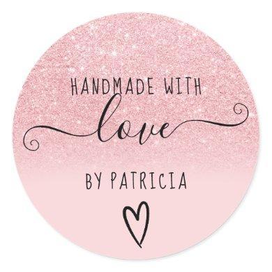 Handmade love typography pink glitter sparkles classic round sticker
