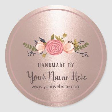 Handmade Product Floral Rose Gold Business Classic Round Sticker