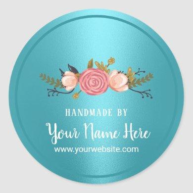 Handmade Product Floral Turquoise Business Classic Round Sticker