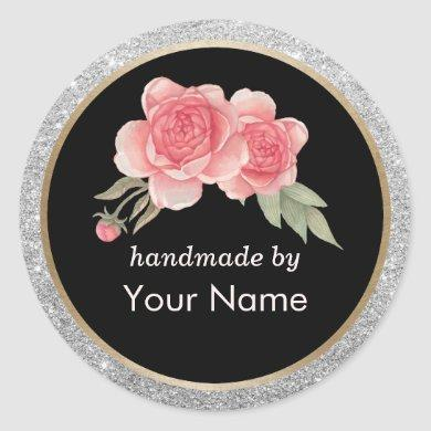 Handmade Product Modern Floral Deco Business Classic Round Sticker
