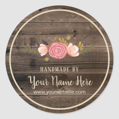 Handmade Product Vintage Floral Rustic Wood Classic Round Sticker
