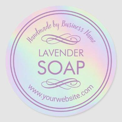Handmade Soap Making Lavender Pastel Holographic Classic Round Sticker